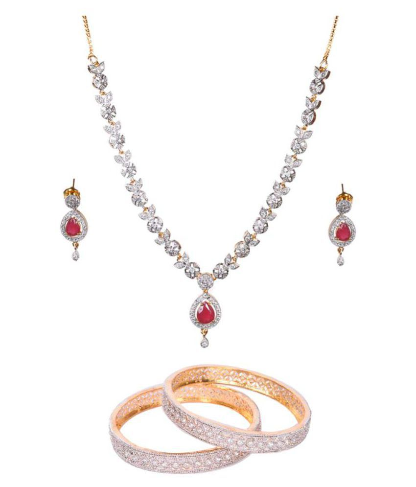 Manikya Multicolour Necklace Set With Pair of Bangles