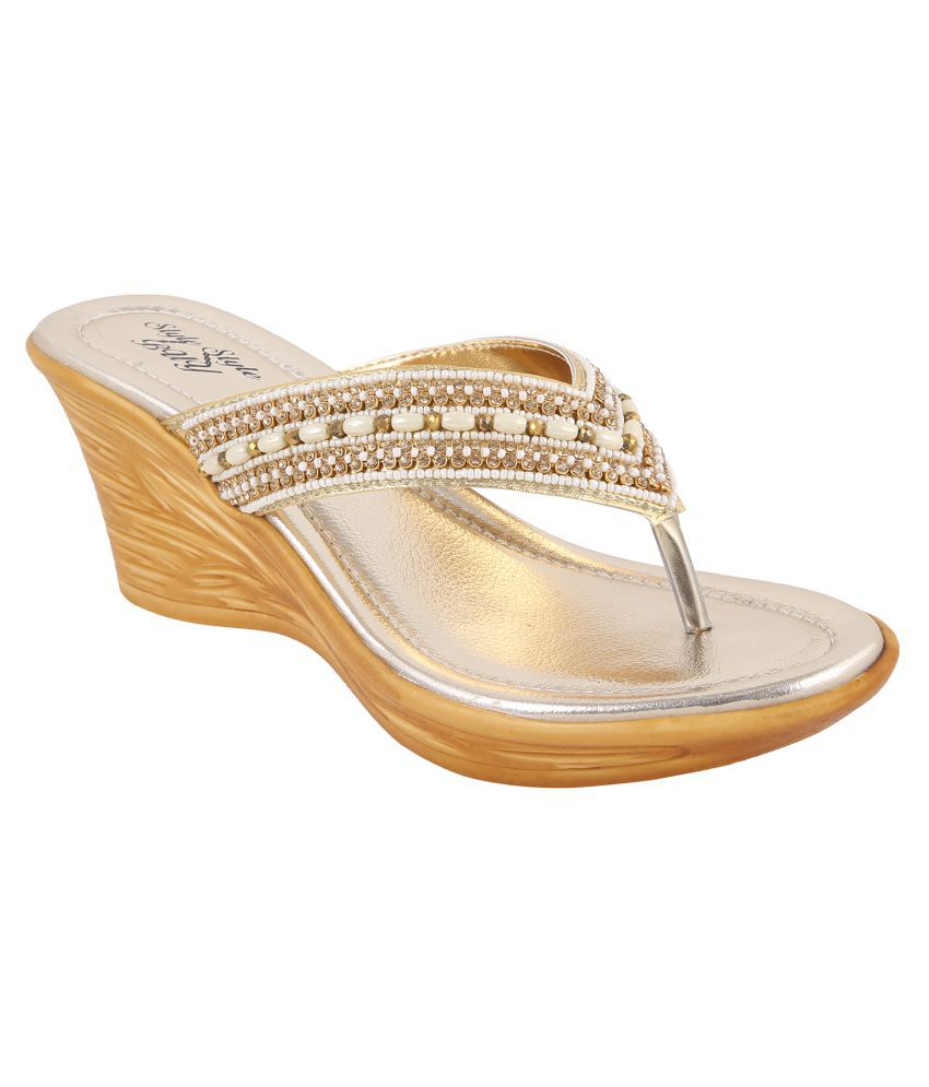 Style Buy Style Gold Wedges Ethnic Footwear