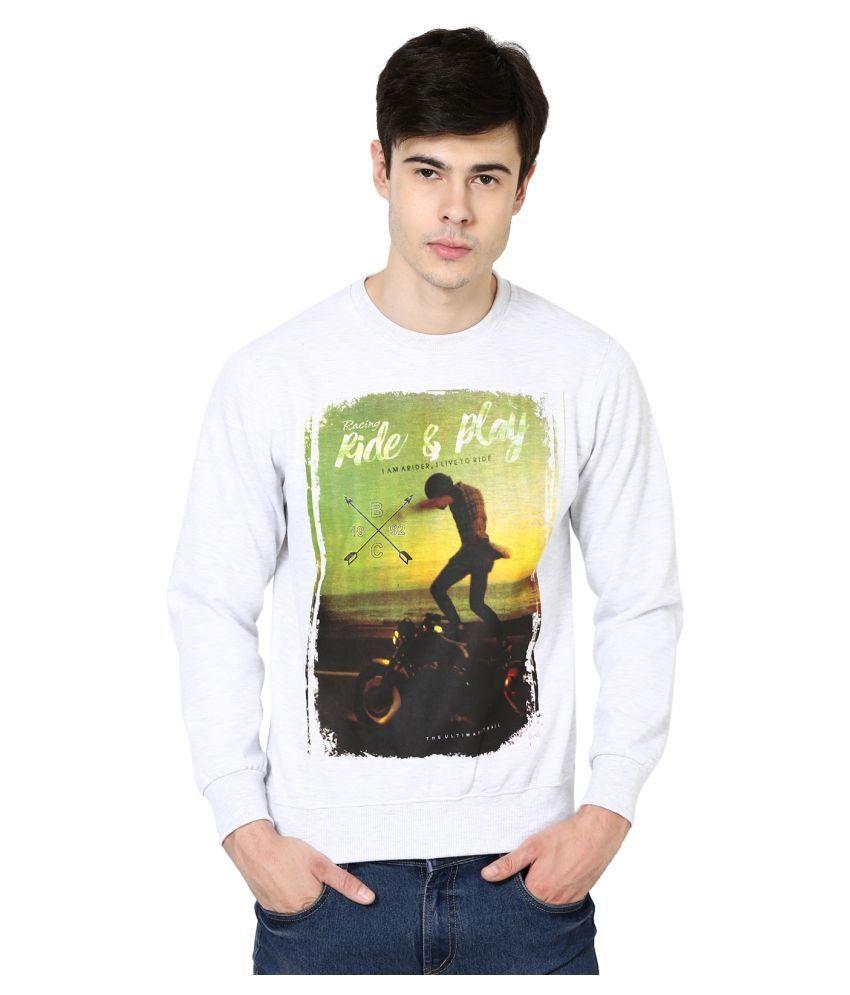 British Cross White Round Sweatshirt