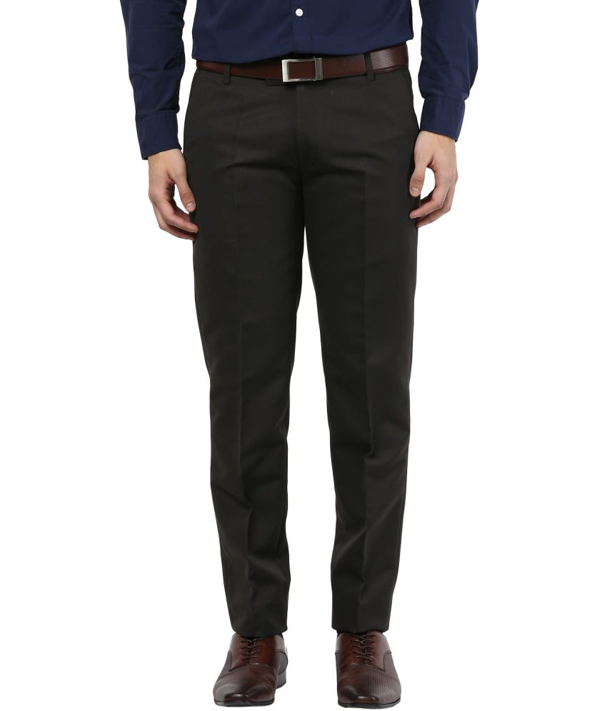 Bukkl Olive Slim Fit Formal Trouser
