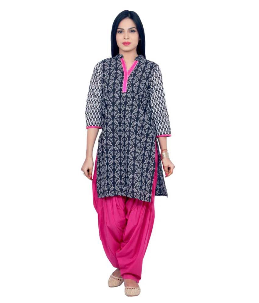 Rama Black Cotton Straight Kurti