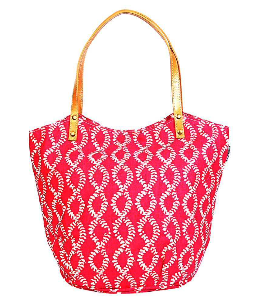 Aqva Pink Canvas Shoulder Bag
