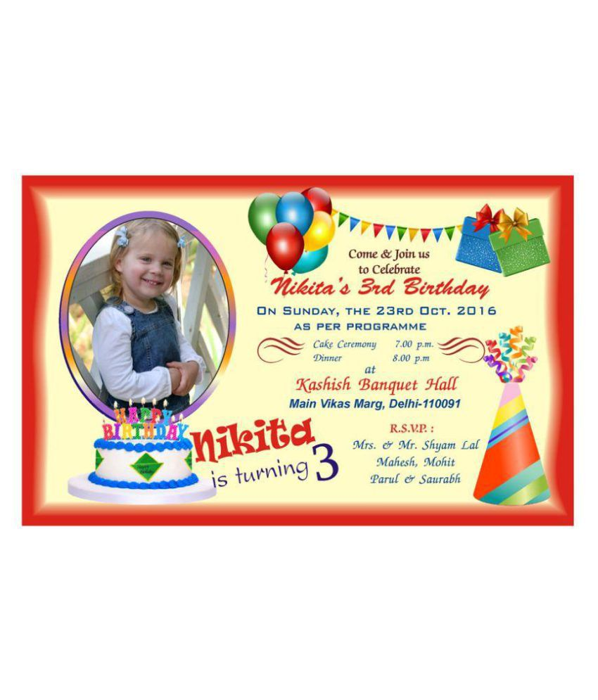Personalised Birthday Invitation Card Pack Of 50 Pcs Buy Online