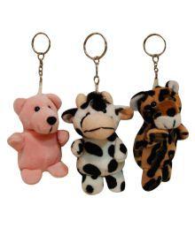 Surbhi Multi Colour Stuffed Animal Key Chain Set Of Three