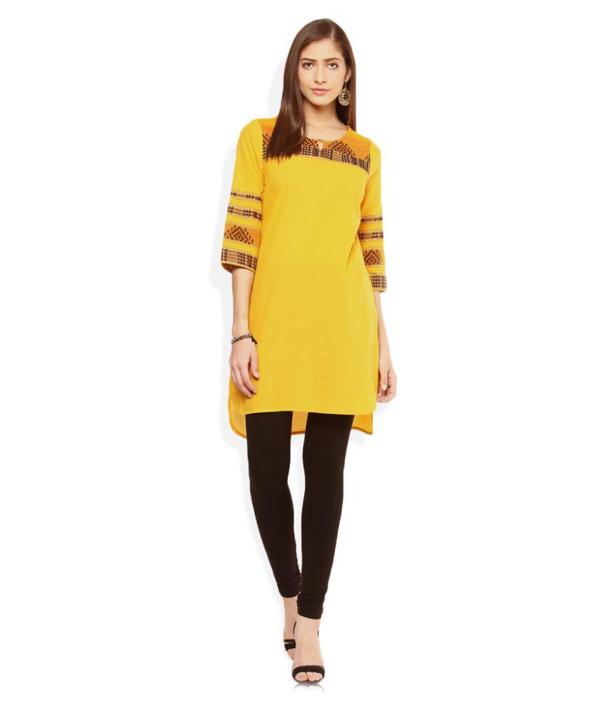Aurelia Yellow Cotton High Low Hemline Kurti