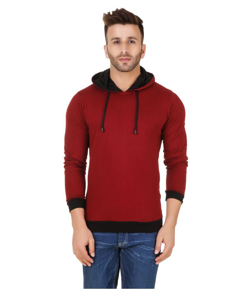 Fabstone Collection Maroon Hooded T-Shirt
