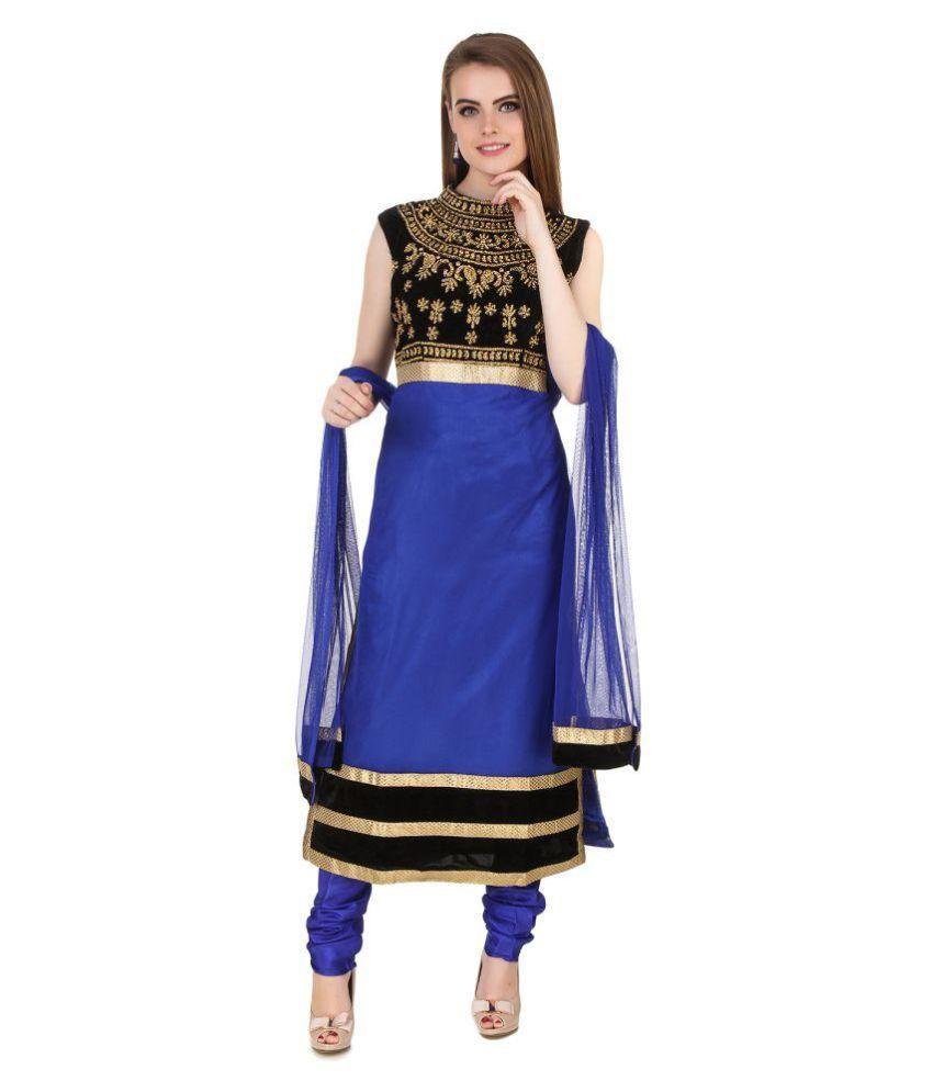 Fasense Royal Blue Net Straight Stitched Suit