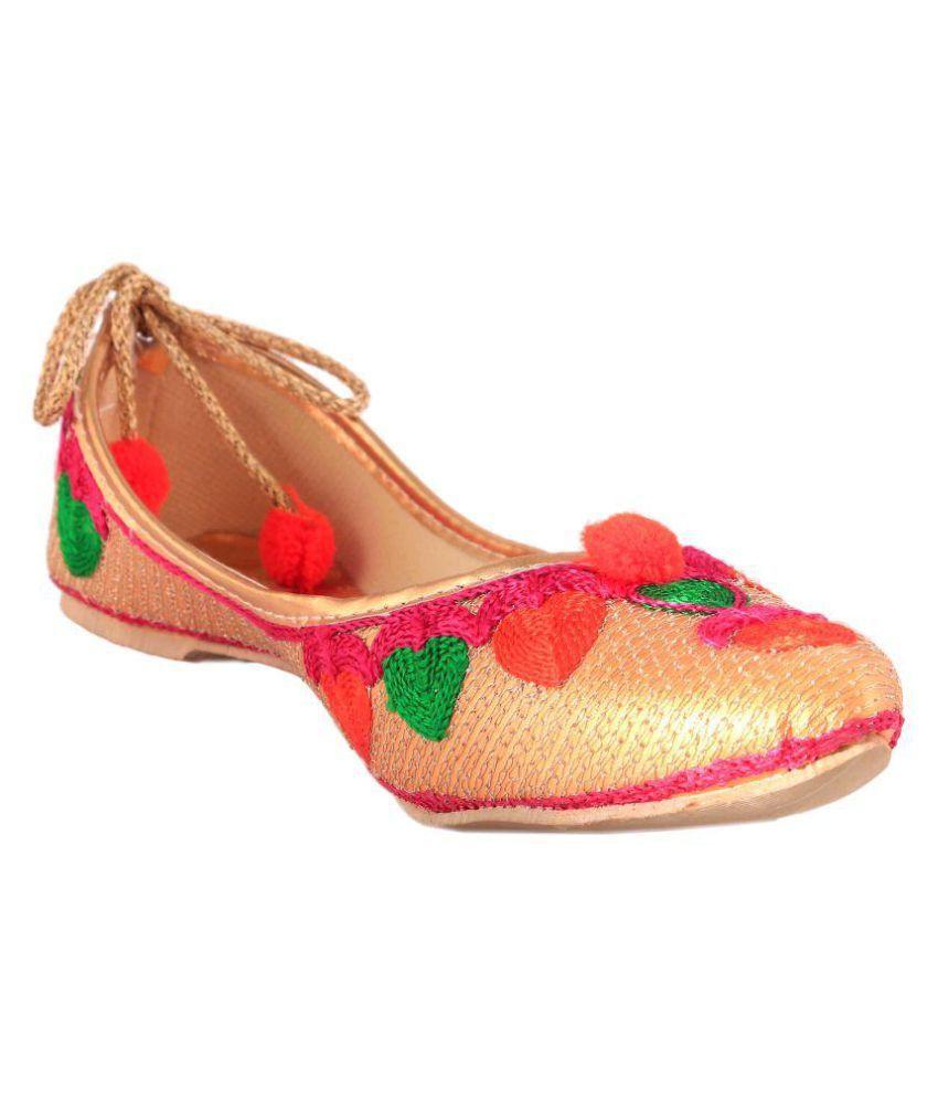 Vinayak Collection Gold Flat Ethnic Footwear