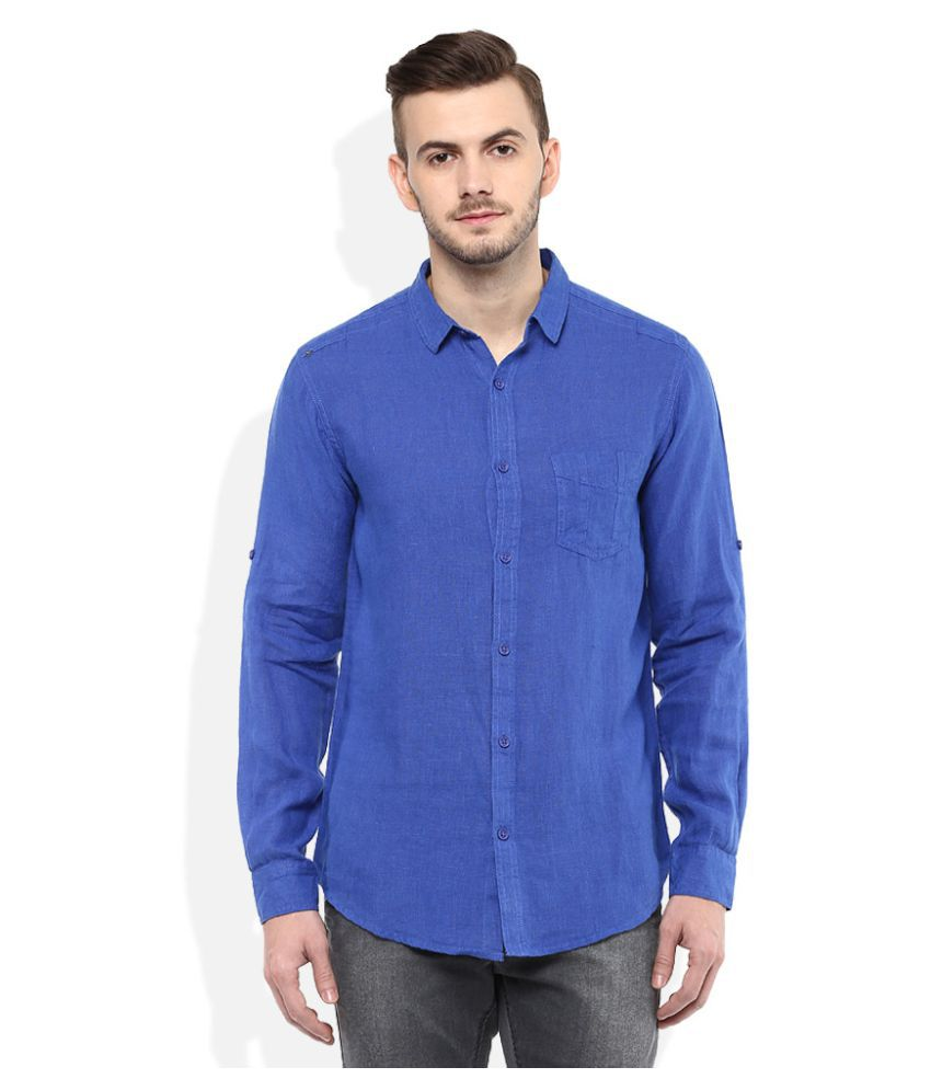 Spykar Blue Casuals Slim Fit Shirt