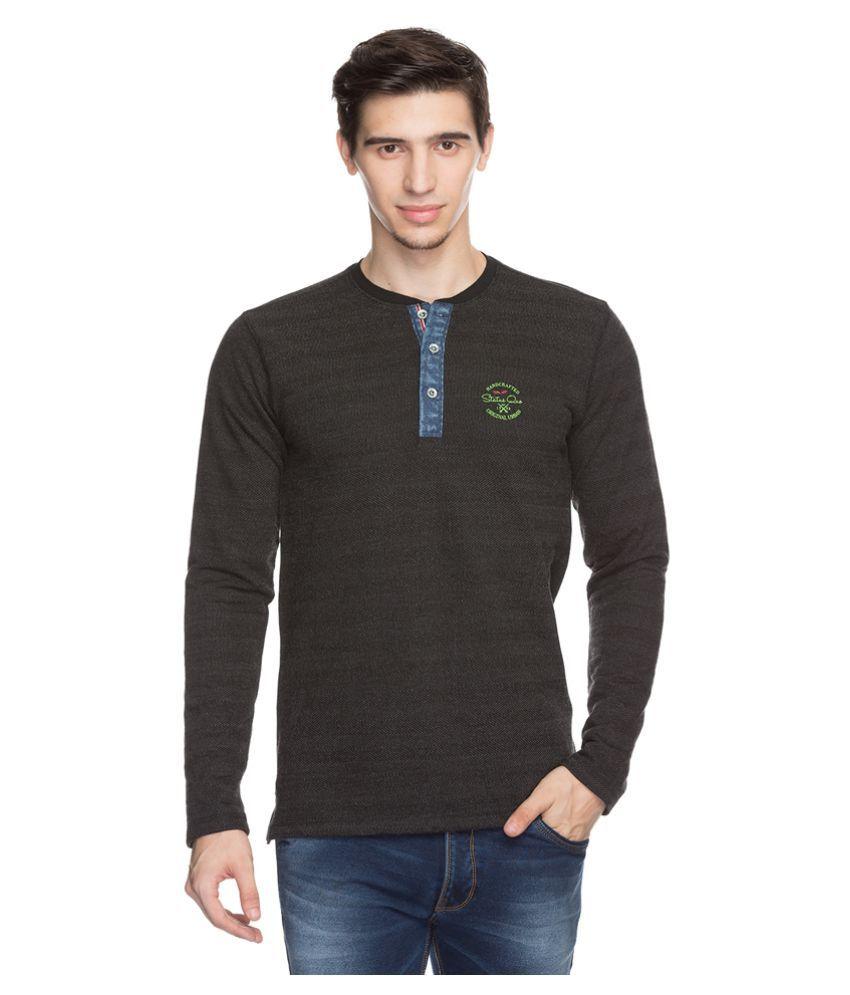 Status Quo Black Henley T-Shirt