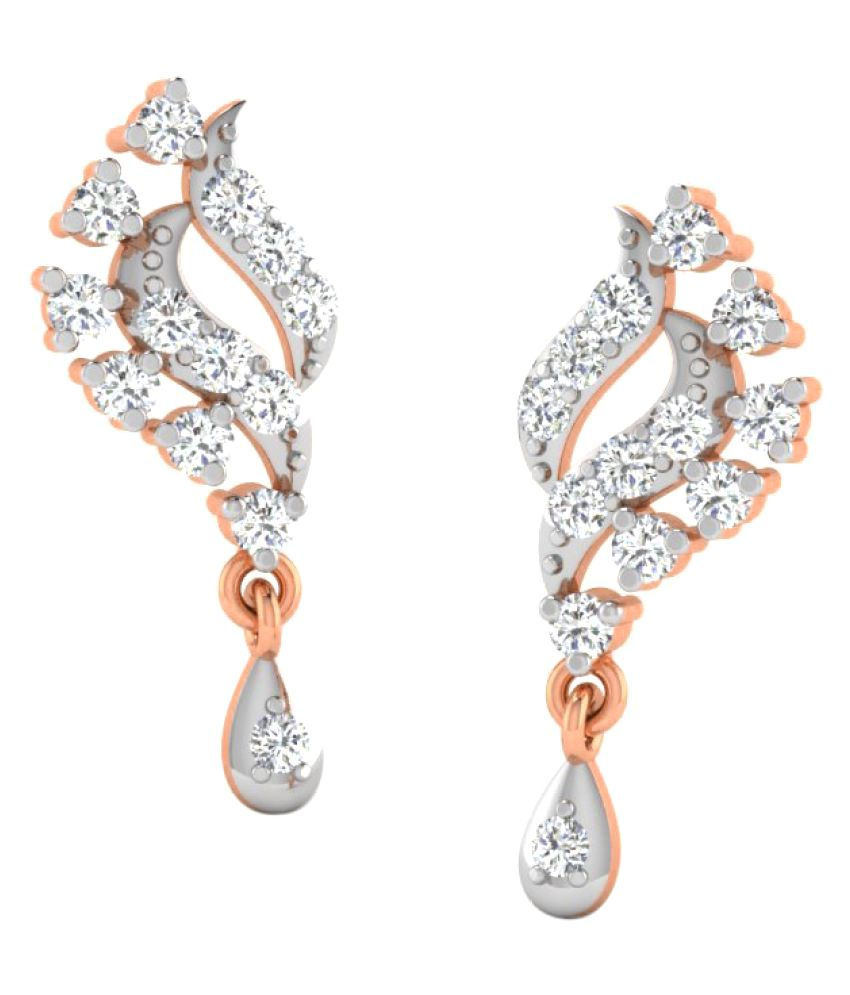 Sparkles 9K Rose Gold Diamond Drop Earrings
