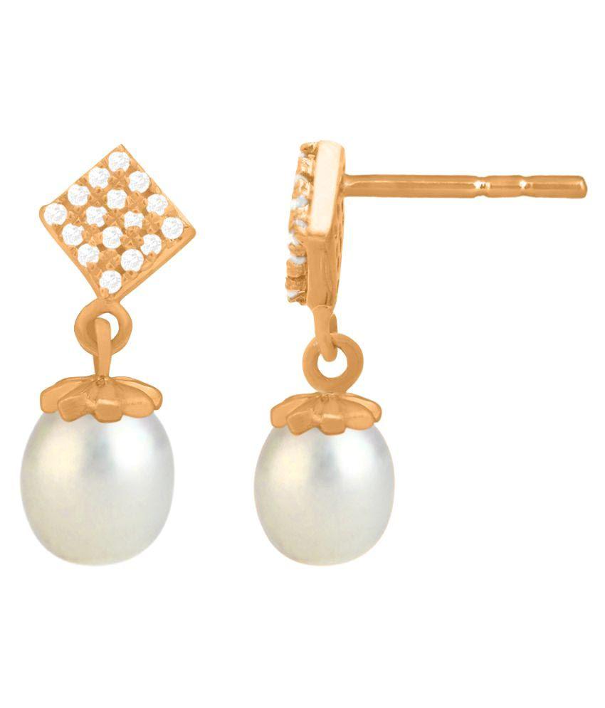 Sparkles 18K Rose Gold Diamond Drop Earrings