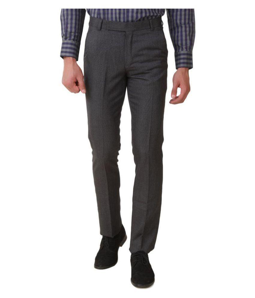Threadroots Grey Slim Flat Trouser