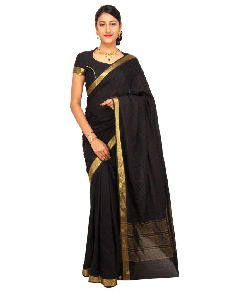 Sudarshan Silks Black Crepe Saree