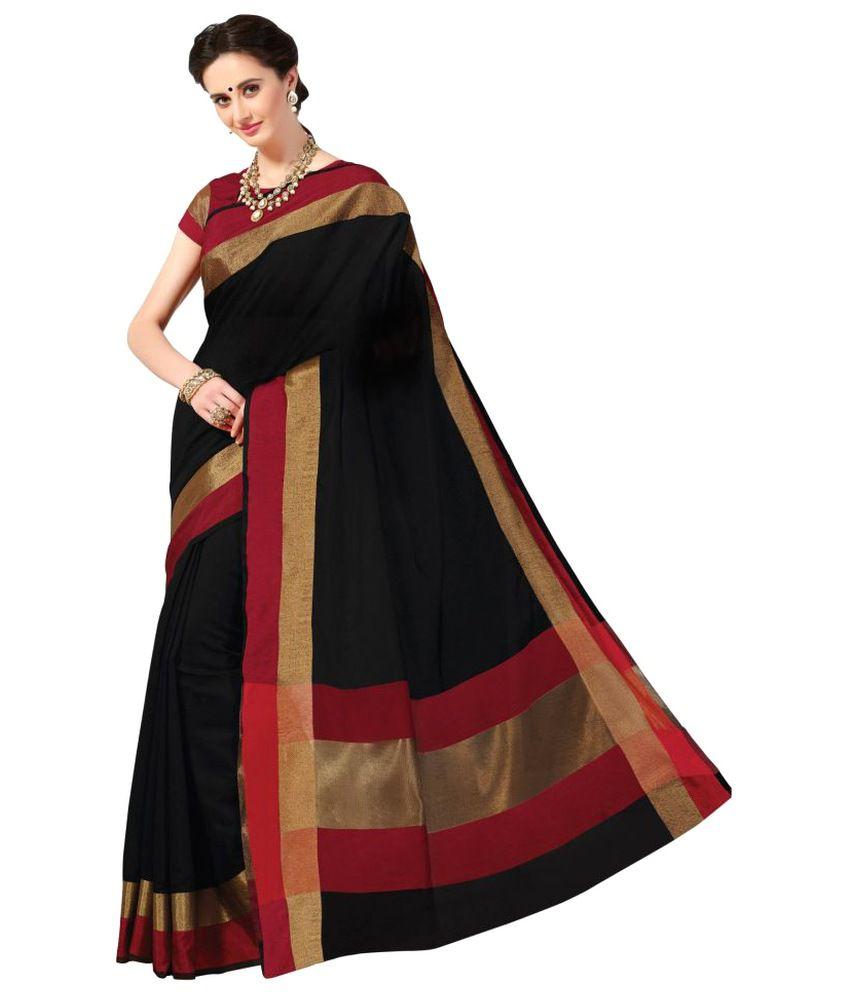 Sudarshan Silks Black Raw Silk Saree