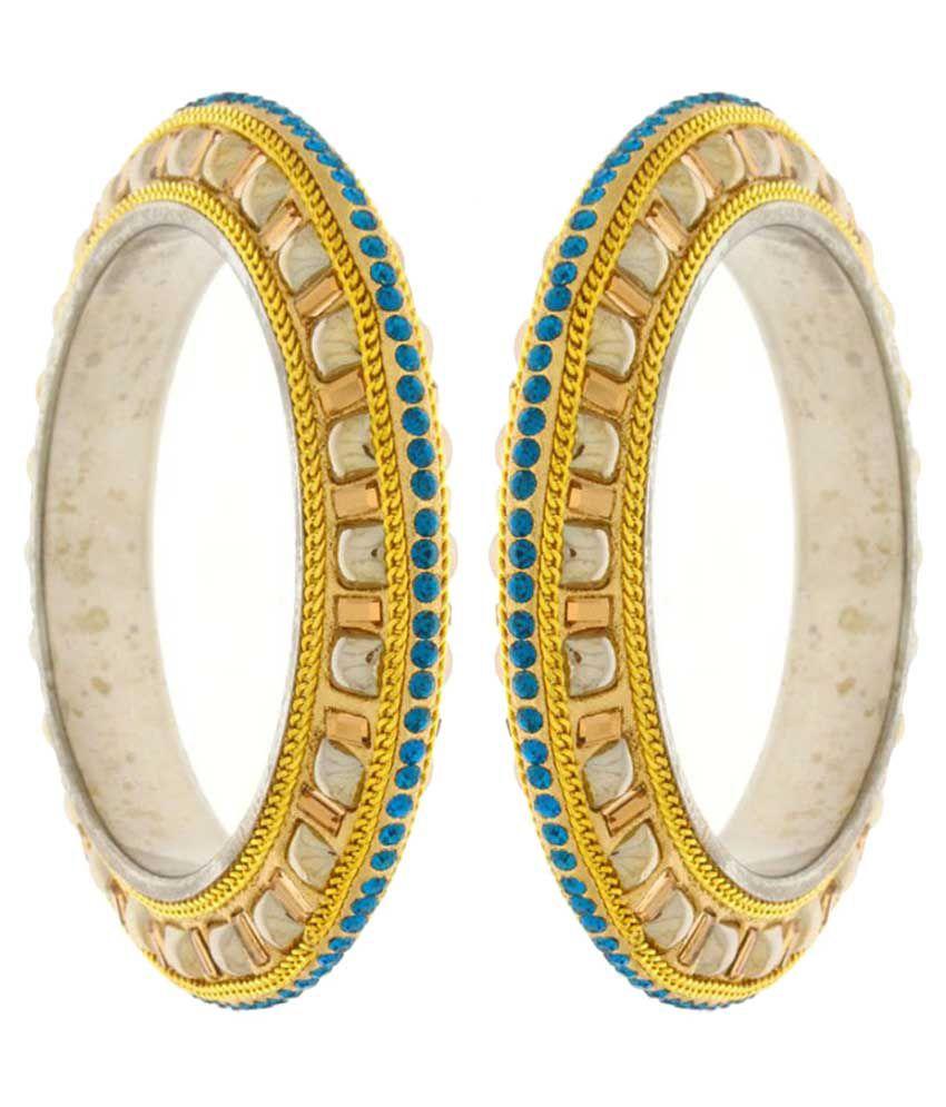 Anuradha Art Blue Designer Stone Traditional Bangles Set