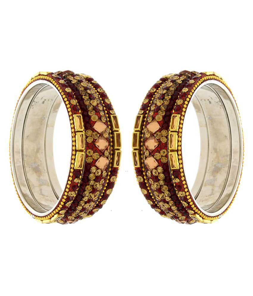 Anuradha Art Maroon Colour Designer Traditional Bangles Set of 6
