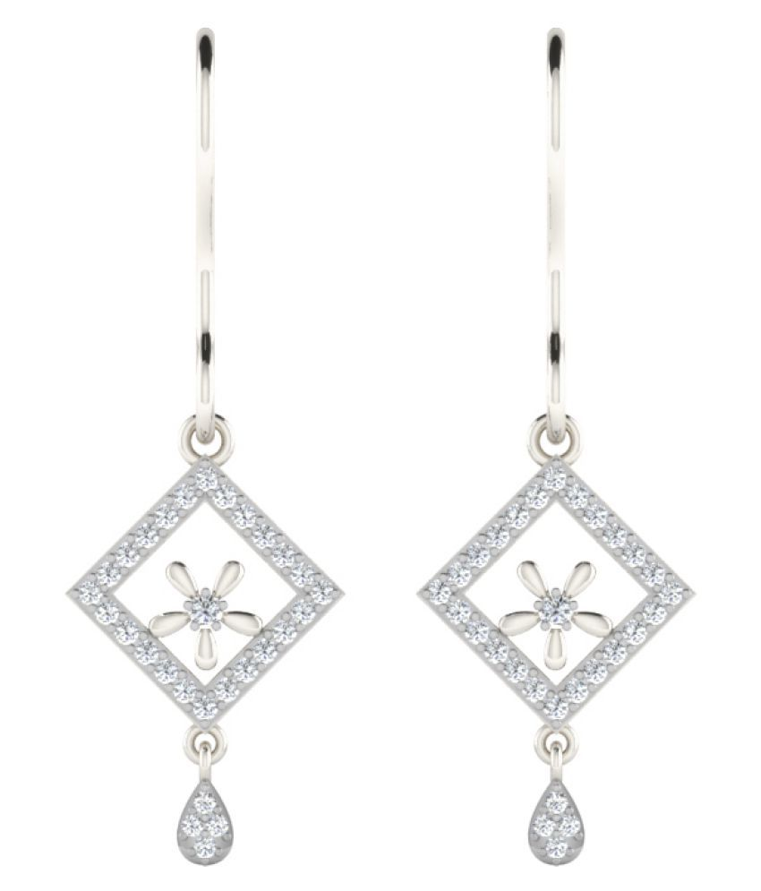 His & Her 9K White Gold Diamond Drop Earrings