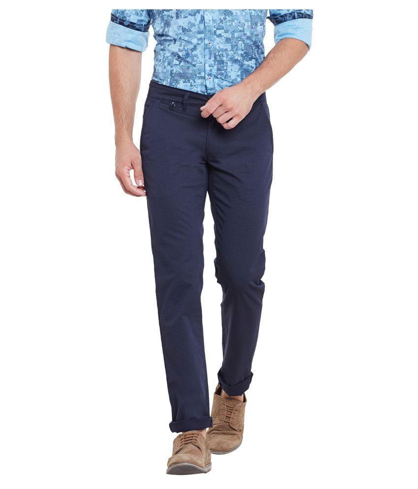 Canary London Navy Blue Slim Flat Trouser
