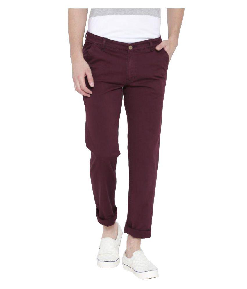 Hubberholme Maroon Regular Flat Trouser