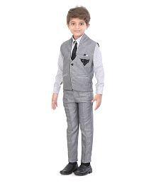 Jeet Grey Silk Boys Waistcoat Set