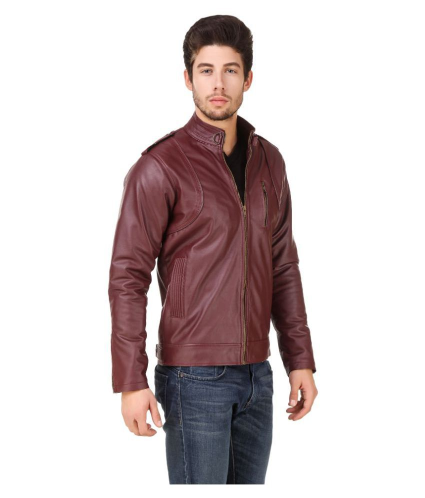 eec07154987 Leinwand Maroon Biker Jacket available at SnapDeal for Rs.2349
