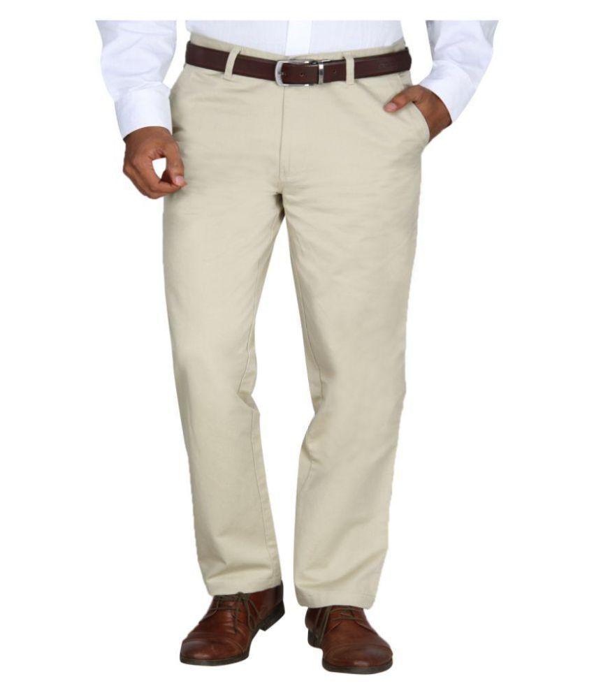 Barata Beige Regular Flat Trouser