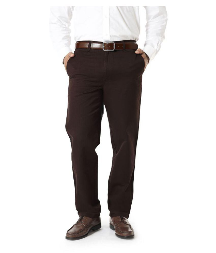 Barata Dark Brown Regular Flat Trouser
