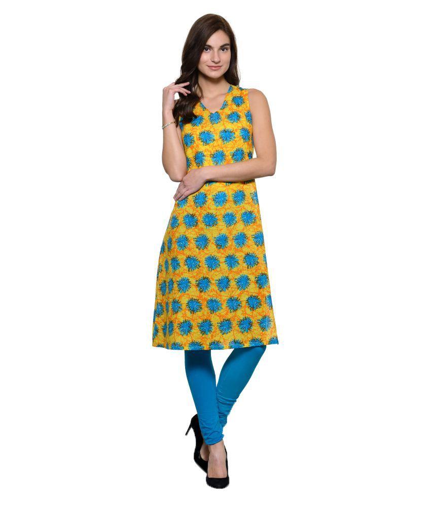 Shubhavas Yellow Cotton Straight Kurti