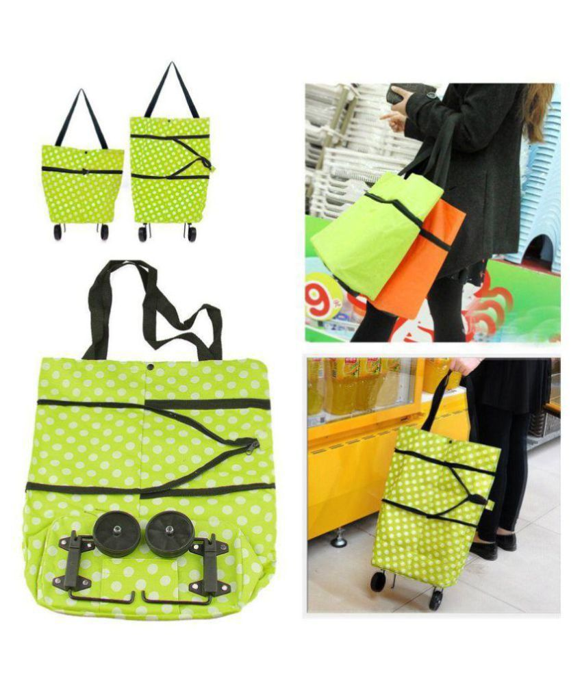 Genric Green Shopping Bags With Wheel - 1 Pc