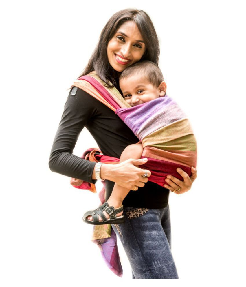 8068c222c65 ... Anmol Front Carry Baby Carrier Reyansh Red Weft Size-3 Handwoven Wrap  ...