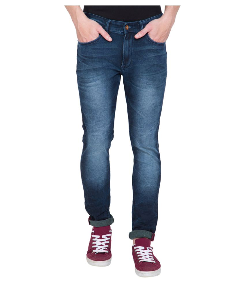 Locomotive Navy Blue Slim Washed Jeans