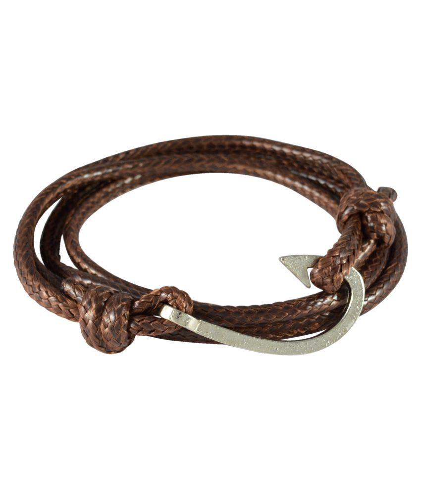 Sarah Brown Fish Hook Wrap Faux Leather Bracelet for Men