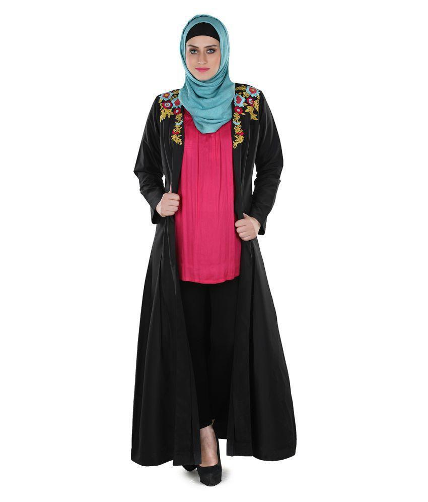 Momin Libas Black Polyester Stitched Abaya-Burqas without Hijab