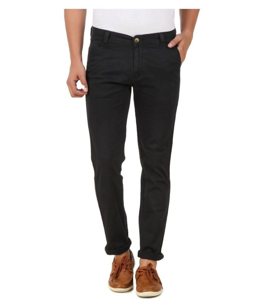 Montare Black Regular Flat Trouser