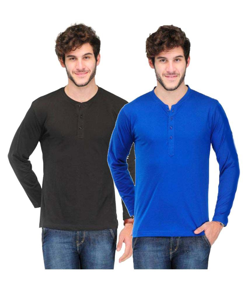 Van Galis Multi Henley T-Shirt Pack of 2