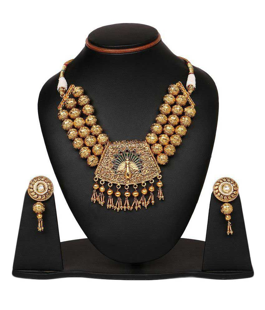 Johareez  Gold Plated Alloy  Peacock Shape Necklace Set
