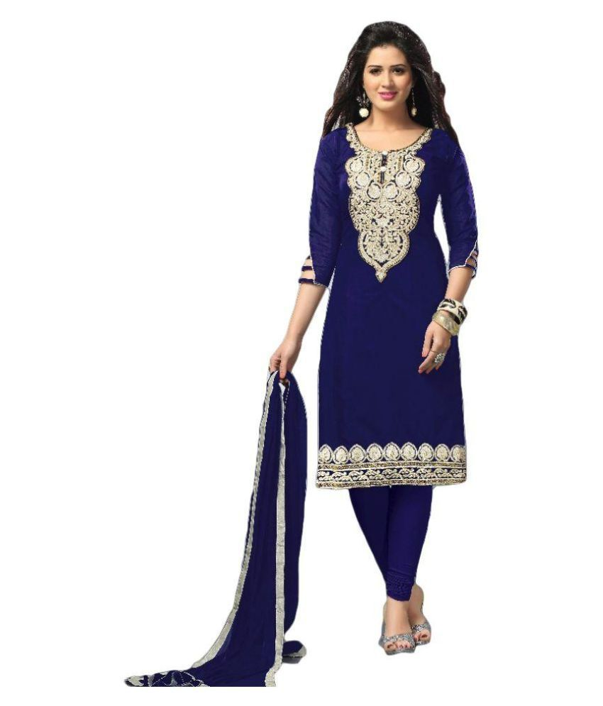 e59f70a898 Siya's Creation Navy Cotton Silk Dress Material - Buy Siya's Creation Navy  Cotton Silk Dress Material Online at Best Prices in India on Snapdeal