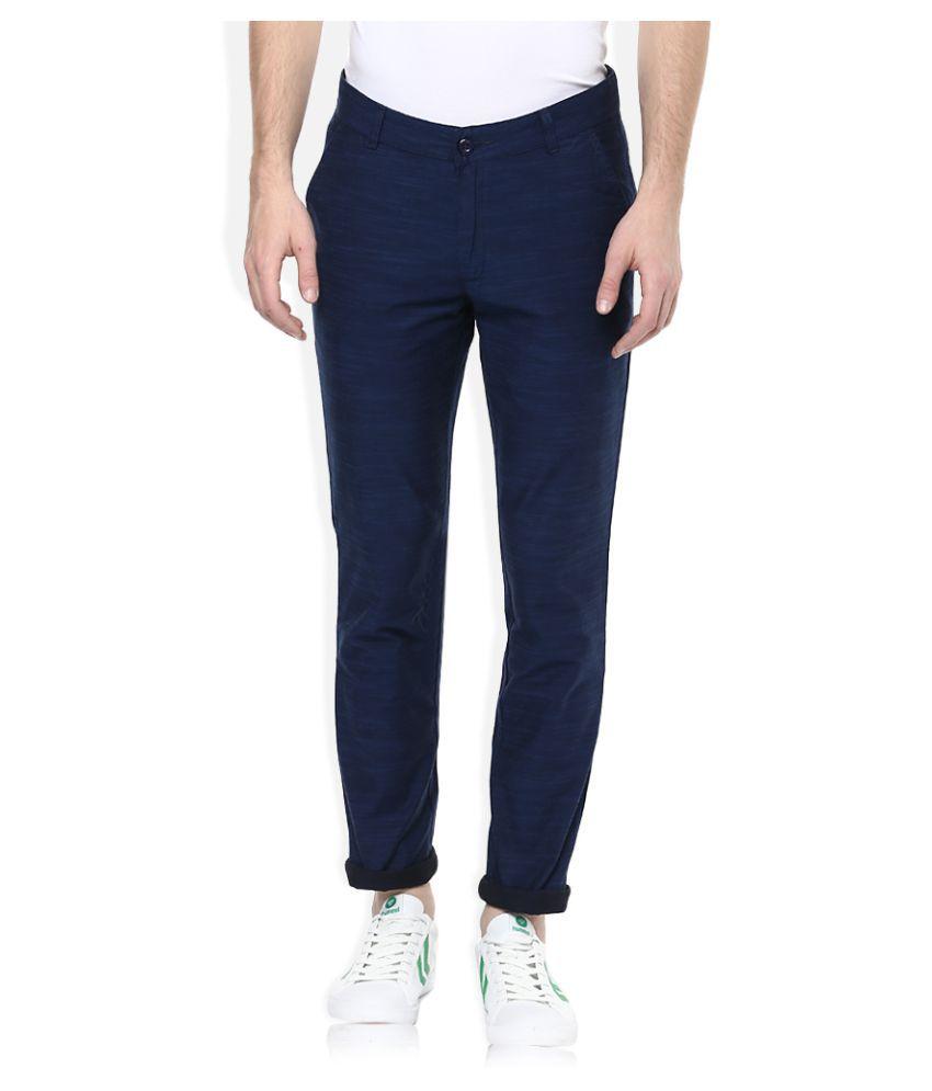 United Colors of Benetton Navy Blue Regular Flat Trouser