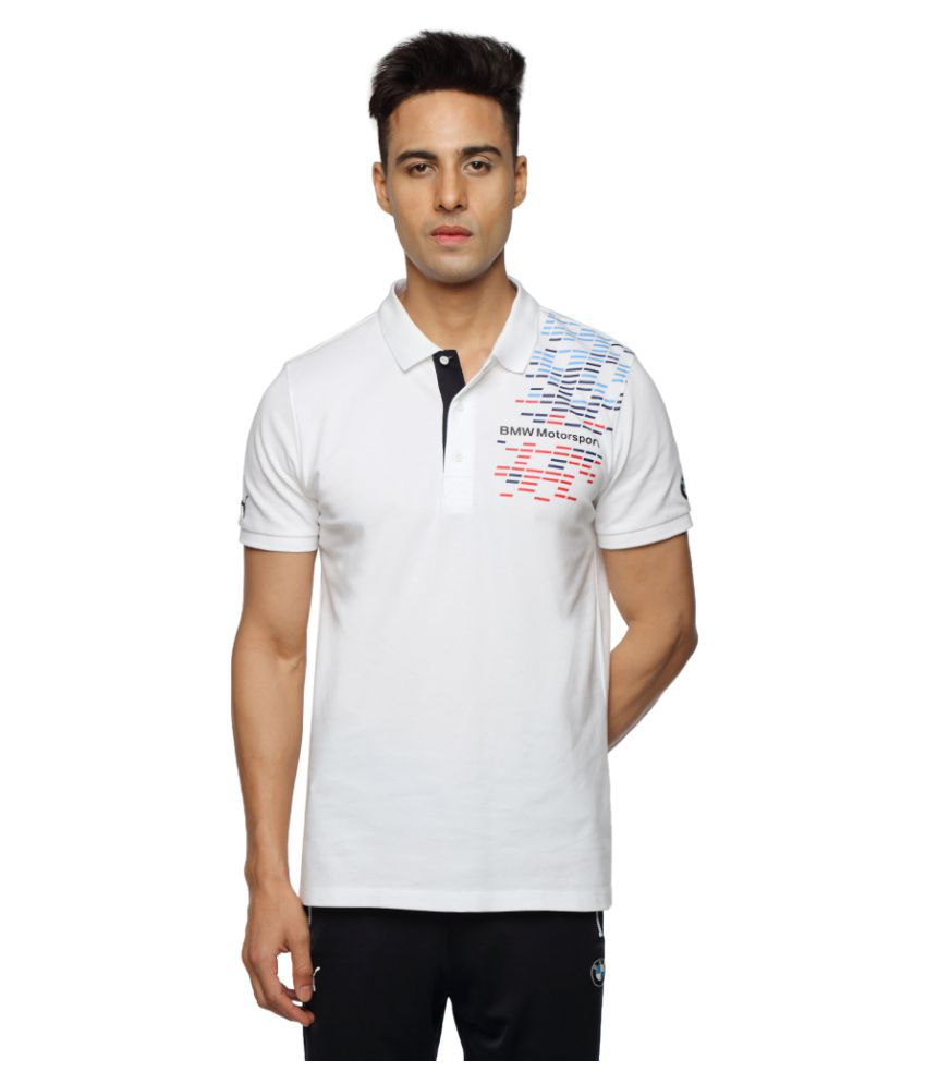 Puma White Cotton Polo T-Shirt Single Pack
