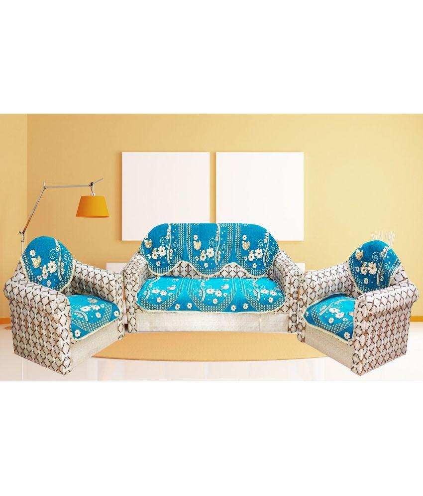 Mangal 5 Seater Velvet Set of 6 Sofa Cover Set
