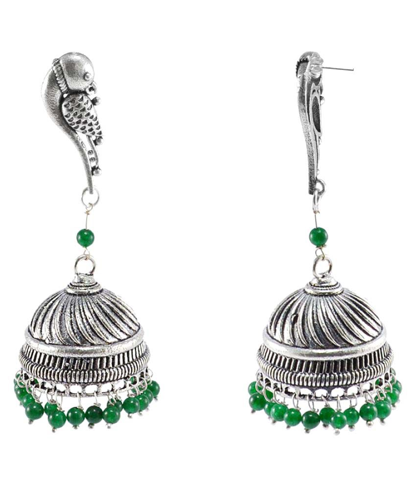 Silvesto India Green Jhumki Earrings Single Pair