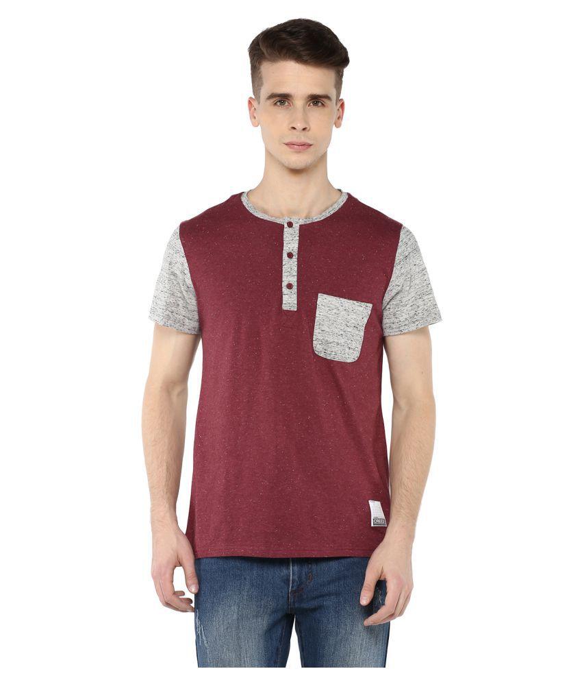 Atorse Maroon Henley T-Shirt