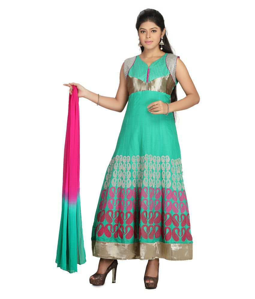 MantaKart Sea Green Cotton Anarkali Stitched Suit