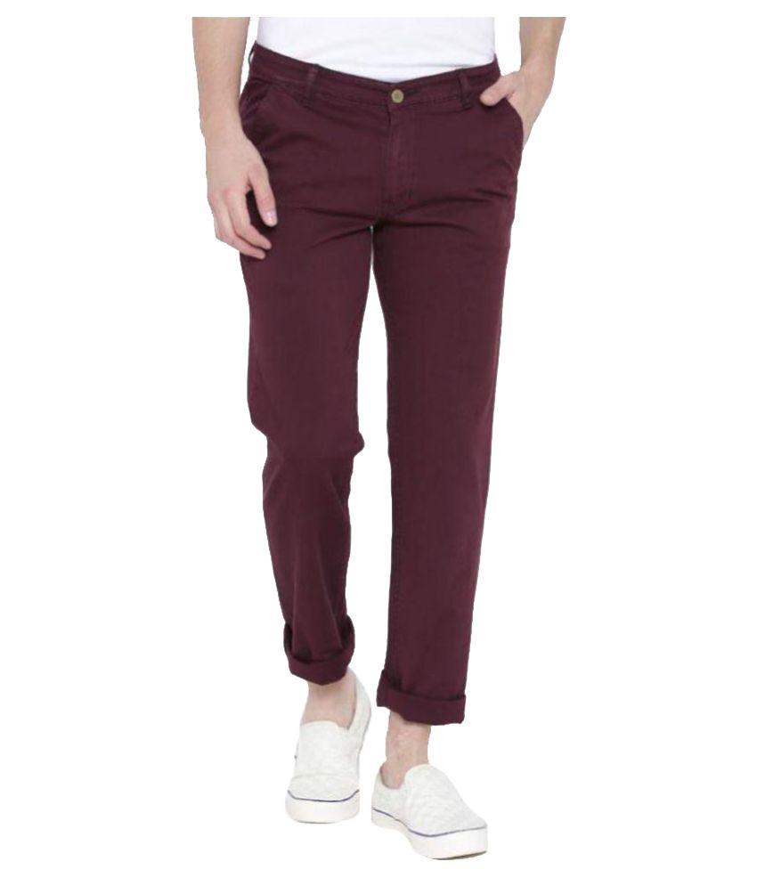 Hubberholme Maroon Slim Flat Trouser