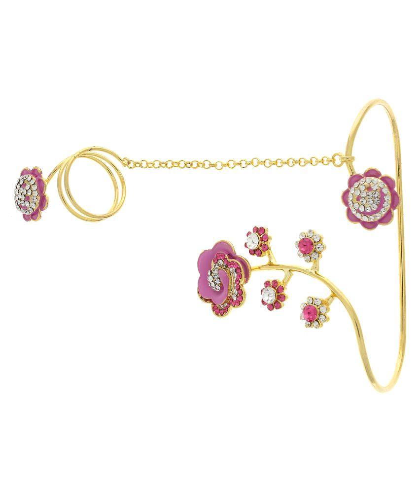 Anuradha Art Golden Finsih Pink Colour Classy Designer Bracelet ...