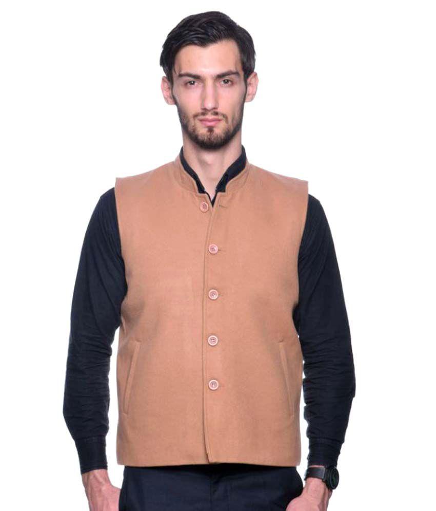 Pierre Carlo Beige Plain Casual Waistcoats