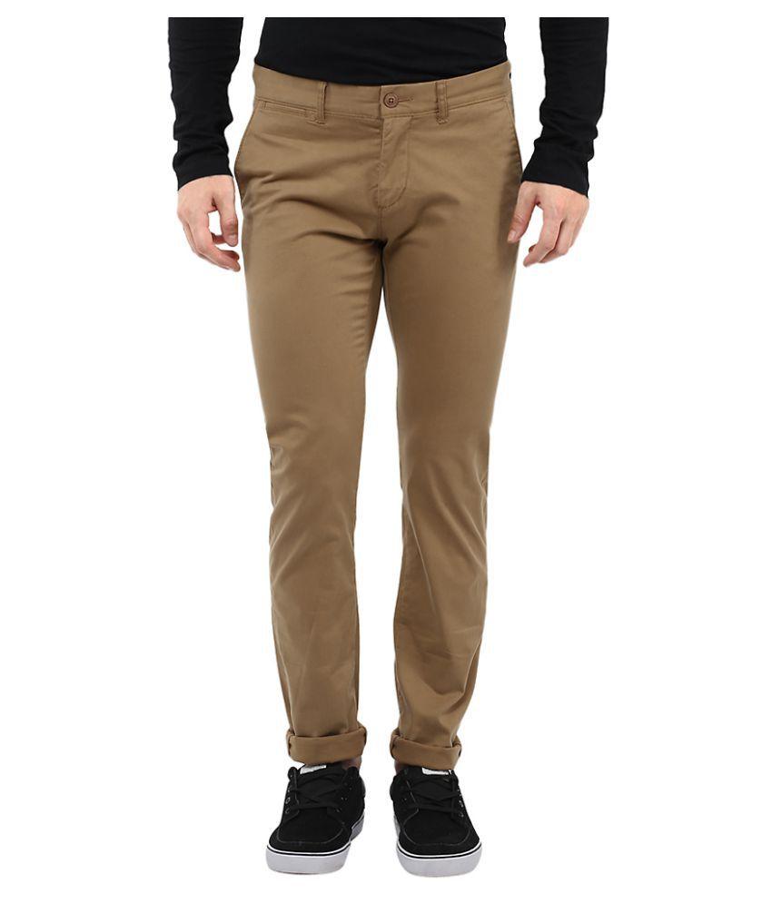 Celio Khaki Slim Flat Trouser