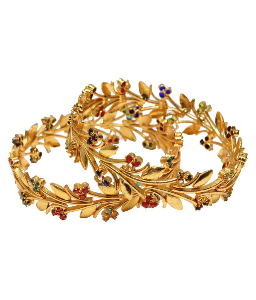 51ccfbc3ed6 Lakshya Gold Plated Fancy Design Bangles - Set of 2