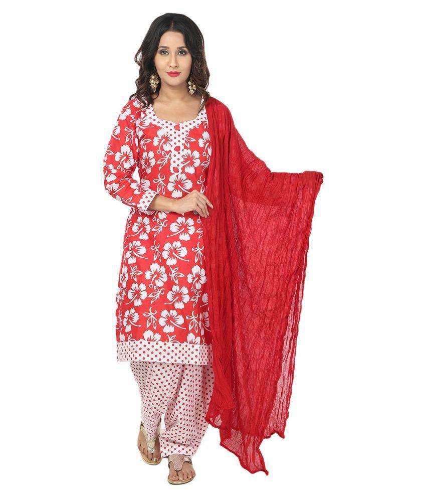 Saundarya Red Cotton Straight Stitched Suit
